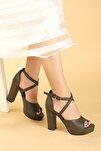 Kadın Yeşil Platform Topuklu Ayakkabı 11 cm 3210-2058