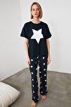 Lacivert Yıldız Baskılı Örme Pijama Takımı THMAW21PT0160