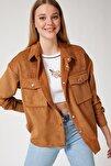Kadın Camel Kadife Hafif Oversize Gömlek DD00768