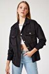 Kadın Siyah Kadife Hafif Oversize Gömlek DD00768