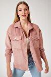 Kadın Pembe Kadife Hafif Oversize Gömlek DD00768