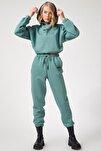 Kadın Yeşil Polarlı Baskılı Eşofman Takımı  DD00730