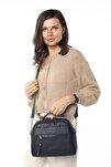 Aynı Butikte 2.Ürün 1 TL  Lacivert Kadın Çok Bölmeli Omuz Çantası Çapraz Çanta ve El Çantası