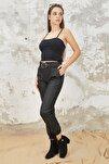 Kadın Siyah Polarlı Kemerli Jogger Suni Deri Pantolon