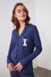 Lacivert Önü Düğmeli Örme Pijama Takımı THMAW21PT0303