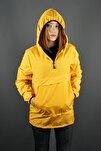 Kadın Sarı Kapüşonlu Yağmurluk Mevsimlik Mont