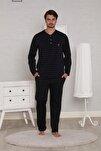 Erkek Siyah Jakarlı Uzun Kollu Kışlık Penye Pijama Takımı
