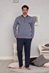 Erkek Mavi Jakarlı Uzun Kollu Kışlık Penye Pijama Takımı