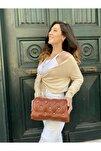 Kadın Kiremit Rengi Yumoş Troklu Çapraz Askılı Omuz Çantası