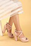 Kadın Pudra Platform Topuklu Ayakkabı 11 cm 3210-2058