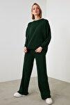 Zümrüt Yeşili Fitilli Kazak Pantolon Triko Alt-Üst Takım TWOSS20AU0084