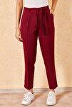 Kadın Bordo Bel Kuşaklı Klasik Pantolon