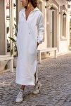 Kadın Ekru Kapüşonlu Fermuarlı İçi Polar Oversize Sweat Elbise GK-TD1985