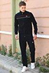 Erkek Yakalı Çizgili Siyah  Eşofman Takım 85099