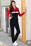 Kadın Kapüşonlu Ön Garnili Lacivert-kırmızı Eşofman Takım 95198