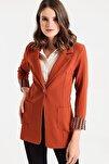 Kadın Kiremit Yakalı Cepli Uzun Kol Katlamalı Ceket 37000