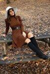 Kadın Yarım Balıkçı Kol Ve Kemer Detaylı Yeni Sezon Kışlık Elbise Nb7156