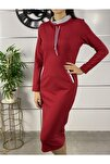 Kadın Kırmızı Şerit Detay Spor Elbise