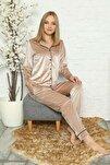 Kadın Vizon Kadife Önden Düğmeli Pijama Takımı