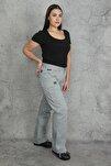 Kadın Gri Diz Detaylı Paça Bağcıklı Cepli Kargo Pantolon 65N20544