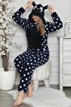 Kadın Lacivert Büyük Puan Desenli Kadın Polar Peluş Tulum Pijama