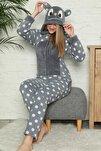 Kadın Gri Gri Büyük Puan Desenli Kadın Polar Peluş Tulum Pijama