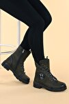 Kadın Haki Fermuarlı Bot Ayakkabı