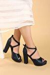 Kadın Cilt Abiye 11 Cm Platform Topuk Sandalet Ayakkabı