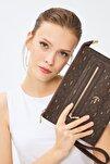 Kadın Kahverengi Taba Basic Monogram Desen Clutch Çanta 4034k 214031