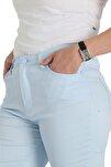 Kadın Mavi Kanvas Normal Bel Dar Paça Pantolon Nvr4037