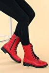 Kadın Kırmızı Cilt Termo Taban Bot C901-01