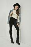 Kadın Siyah Dar Paça Yüksek Bel Pantolon STN136KPA102