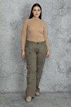Kadın Haki Diz Detaylı Paça Bağcıklı Cepli Kargo Pantolon 65N20544