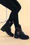 Kadın  Siyah Ymr 913 Cilt Termo Taban Fermuarlı Bot Ayakkabı