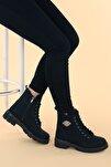 Kadın Siyah Cilt Termo Taban Fermuarlı Bot Ayakkabı