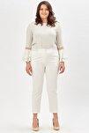 Kadın Beyaz Normal Bel Düz Paça Kumaş Pantolon
