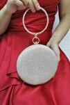 Cupra Kadın Altın Gold Simli Zincir Askılı Abiye Clutch Portföy Çanta
