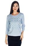 Kadın Kristal Taş Baskılı Luxury Triko Bluz