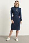 Kadın Lacivert Şerit Detay Spor Elbise