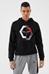 Erkek Siyah Kapüşonlu Üç Renk Nakışlı Siyah Kanguru Cepli  Sweatshirt
