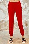 Kadın Kırmızı Lastikli Paça Klasik Eşofman Alt
