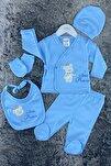 Erkek Bebek Mavi Prens Ayıcıklı 5'li Hastane Çıkışı Zıbın Seti
