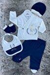 Erkek Bebek Lacivert Prens Ayıcıklı 5'li Hastane Çıkışı Zıbın Seti