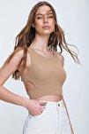Kadın Bej Dekolteli Crop Kaşkorse Bluz ALC-X6077
