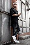 Erkek Siyah Fermuar Detaylı T-shirt 1kxe1-44339-02
