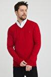 Erkek Kırmızı V Yaka Slim Fit Triko Kazak