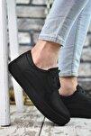 Baskılı Siyah Siyah Erkek Sneaker 0012365