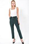 Kadın Yeşil Yüksek Bel Cepli Kemerli Kumaş Pantolon