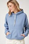 Kadın Mavi Kapüşonlu Kışlık Polar Sweatshirt ZV00047