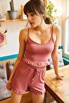 Kadın Gül Kurusu Askılı Fırfırlı Pijama Takımı TKM-19000076